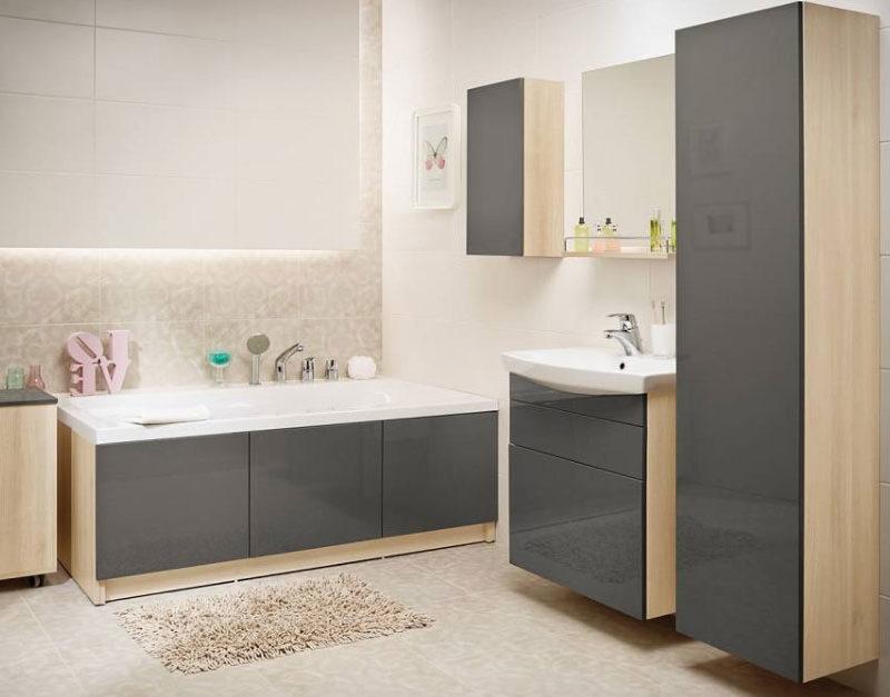 Мебель для ванной серого цвета