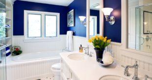 Оформление ванной в бело-голубом цвете